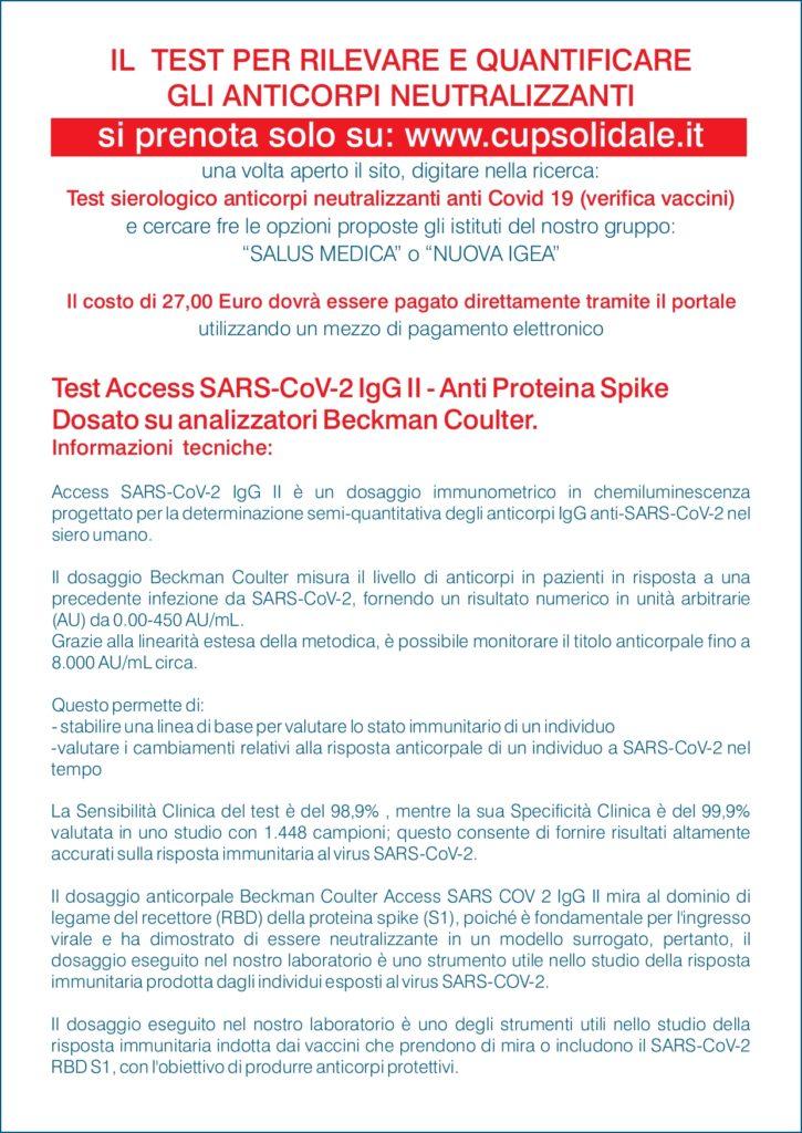 Volantino Nuovo test per verificare l'efficacia del vaccino covid19